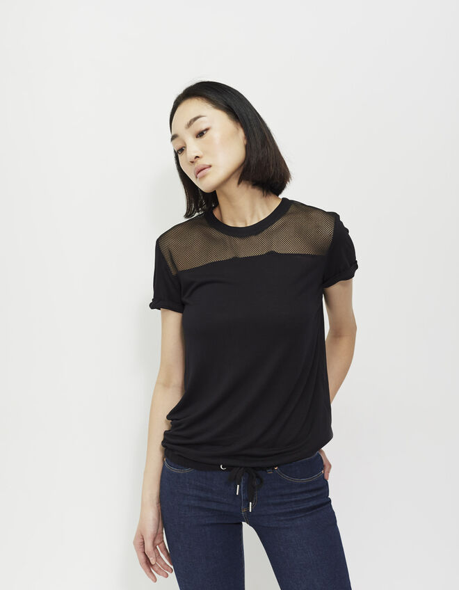Women's black mesh T-shirt