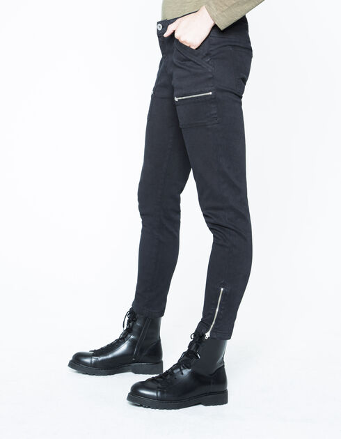 Black slim-fit combat trousers