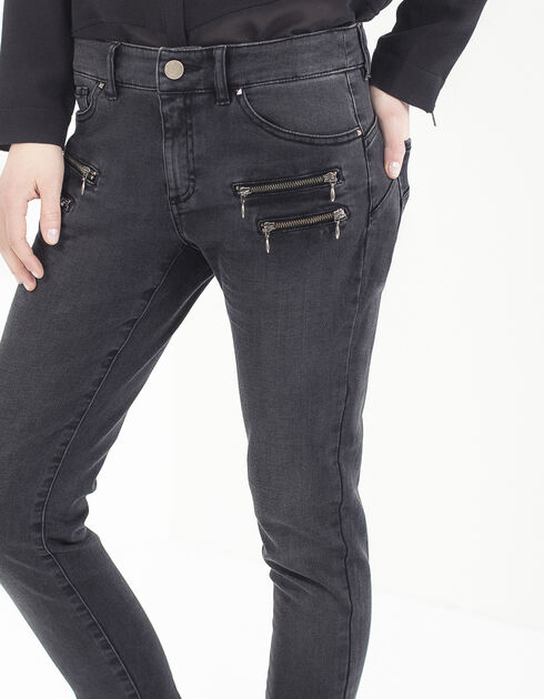 Womens grey zipped slim jeans