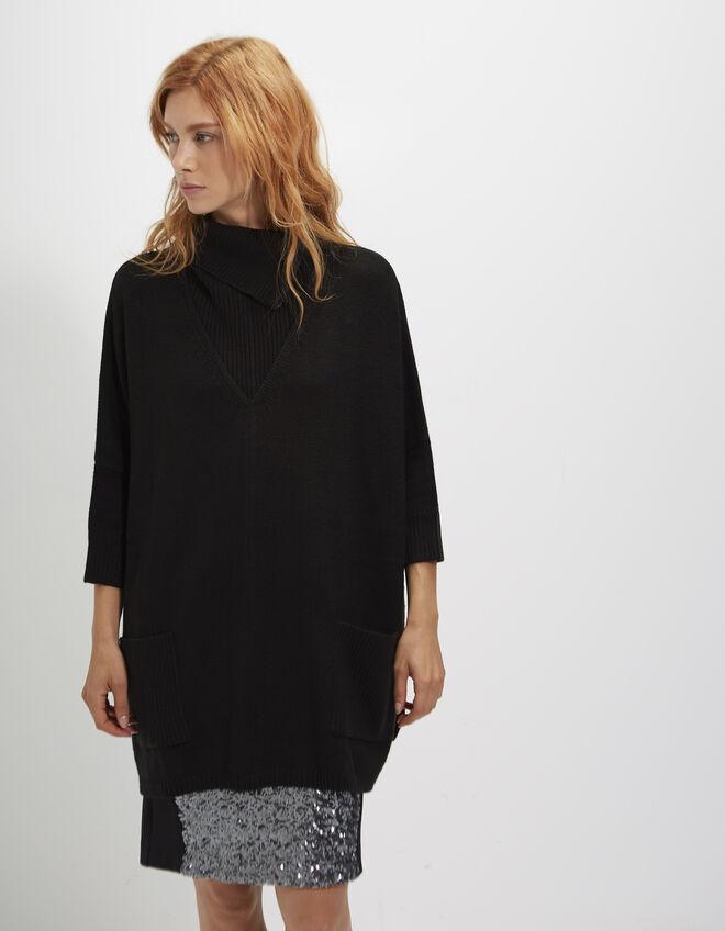 poncho noir oversize femme ikks mode archive h16 automne. Black Bedroom Furniture Sets. Home Design Ideas