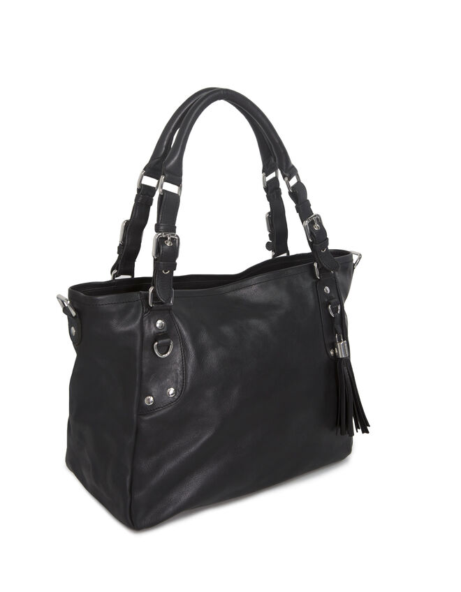 Women's black leather bag
