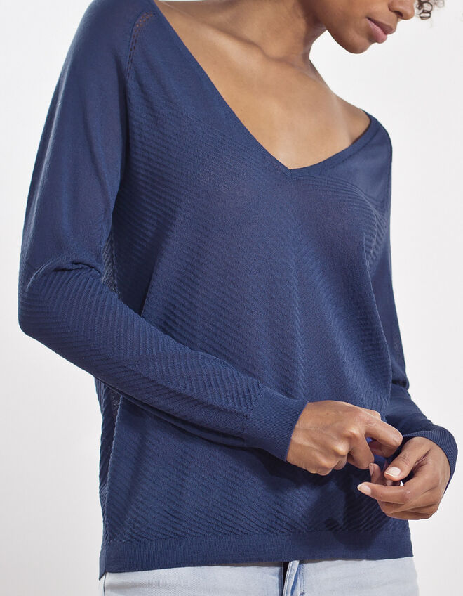 Blue knitted pullover