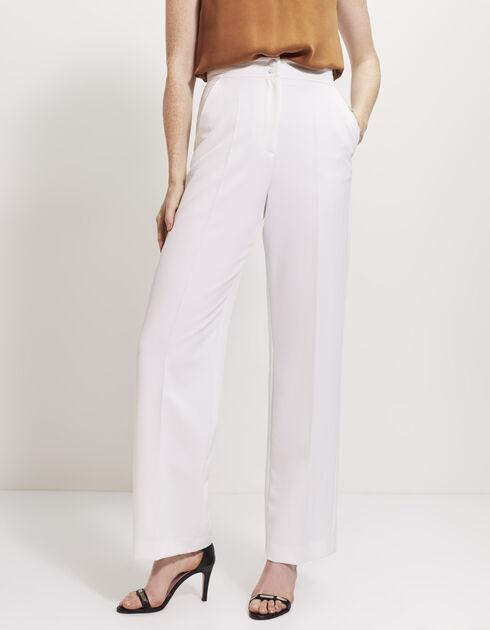 Pantalon Blanc Large Taille Haute Femme – Palzon.Com