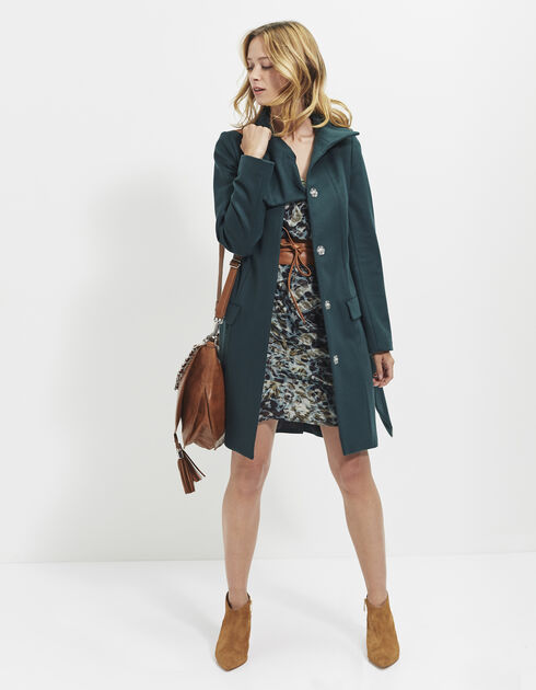 Women's long green coat