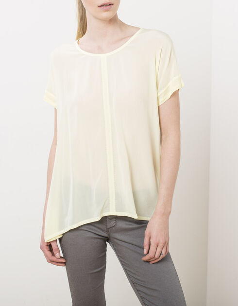 Mixed-fabric T-shirt