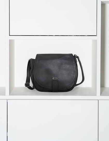 Black leather shoulder bag - IKKS Women
