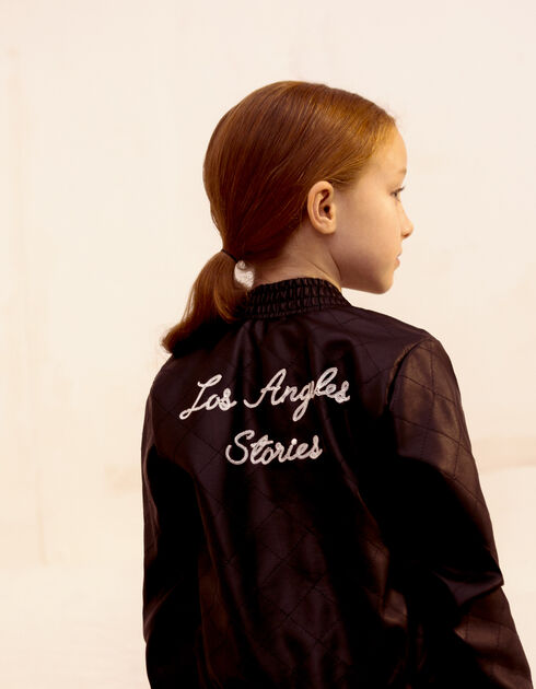 Girls' black baseball jacket