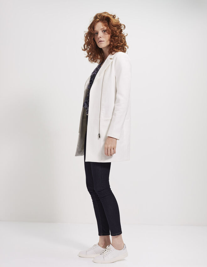 Women's mid-length ecru coat
