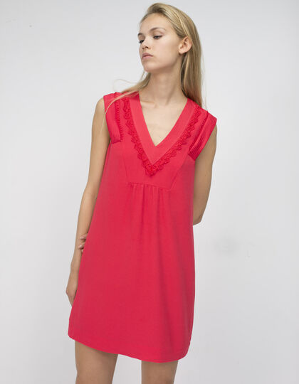 Red satin dress - IKKS Women