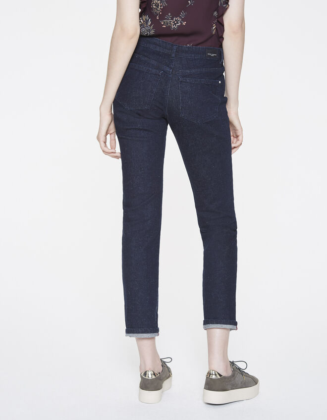 Blauwe raw jeans dames