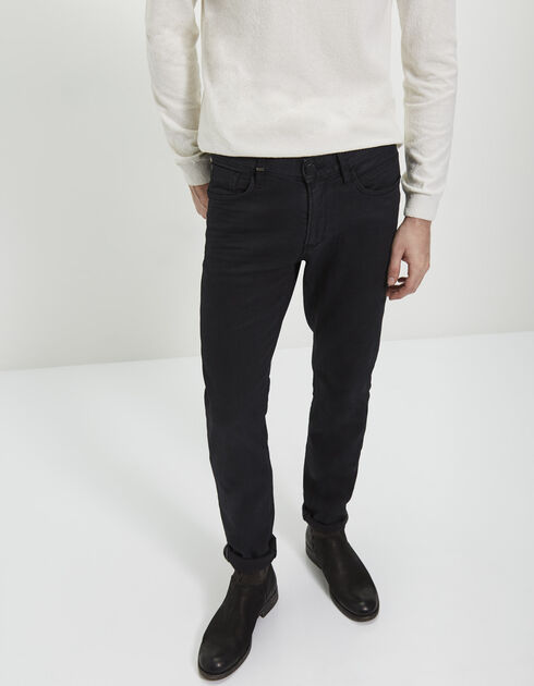 Men's slim-fit black trousers