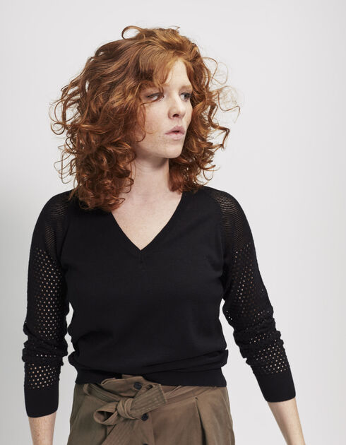 Women's black cotton sweater