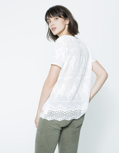 Women's embroidered voile top - IKKS Women