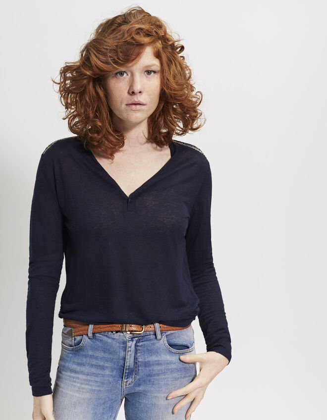 Women's navy blue linen T-shirt