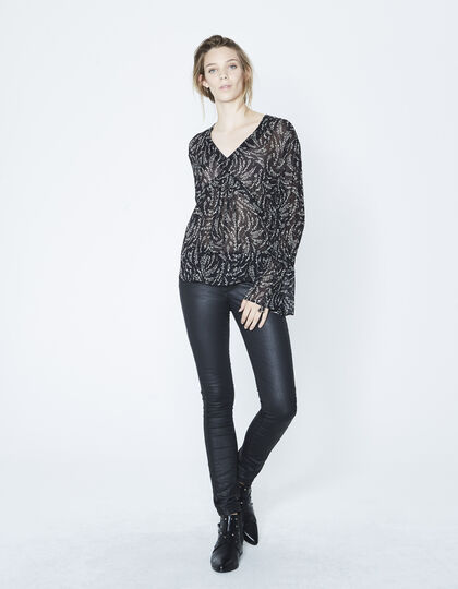 Slim coated trousers - IKKS Women