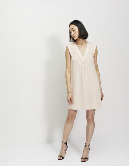 Crêpe and lace dress  - IKKS Women
