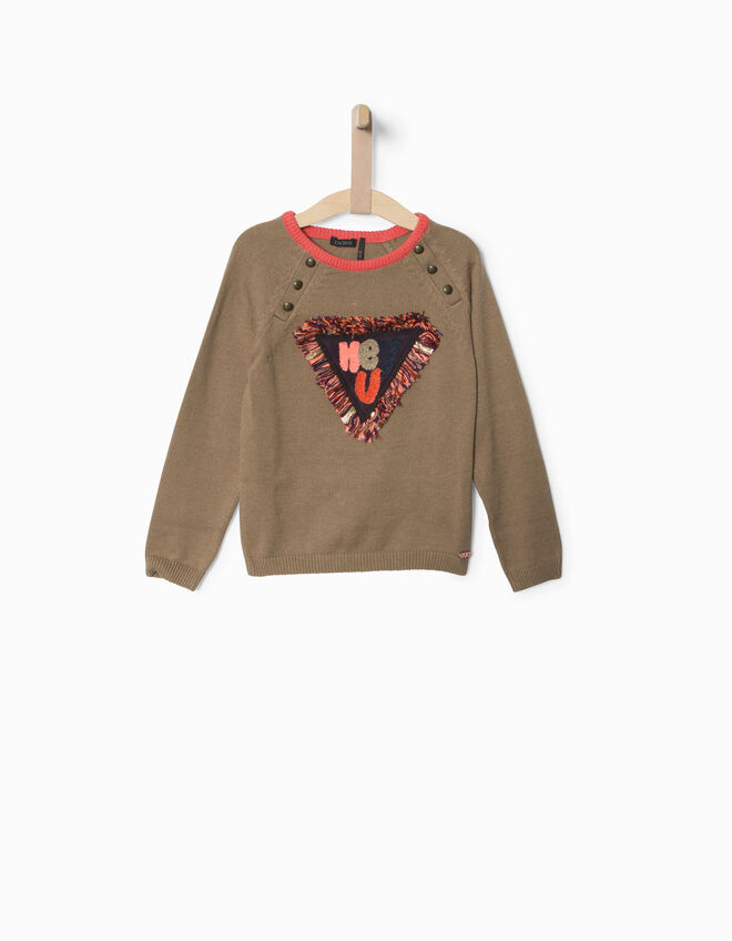 Pull taupe fille