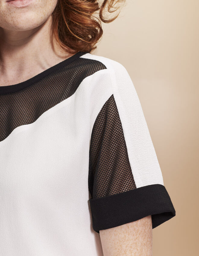 Women's crêpe and mesh top