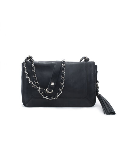 Women's black leather bag - IKKS Women