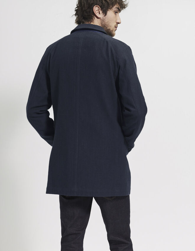 Trench denim bleu homme