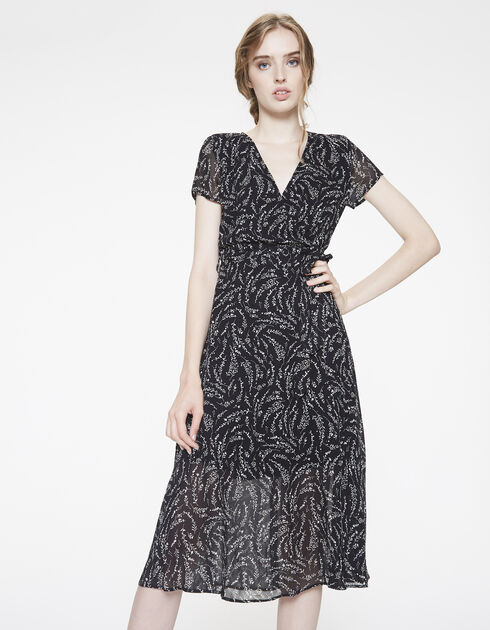 Mid-length printed voile dress