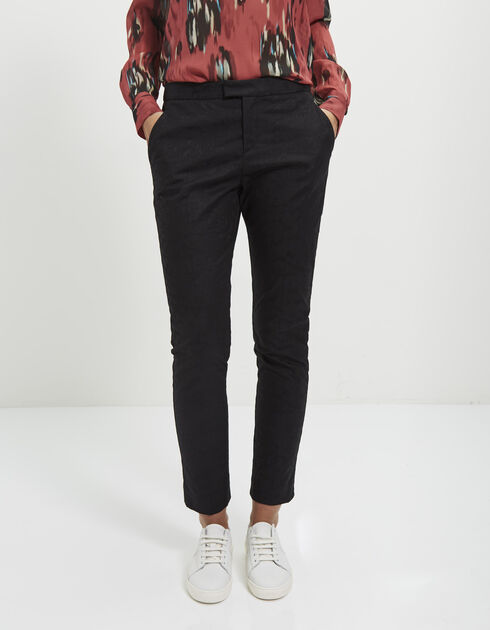 Women's black jacquard trousers