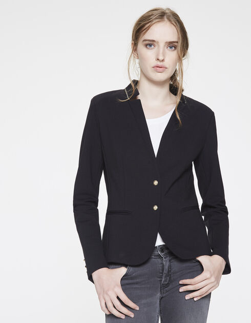 Milano knit suit jacket with collar trim