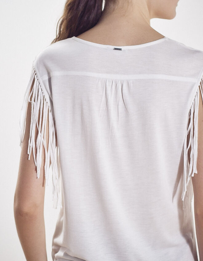 Women's fringed vest top