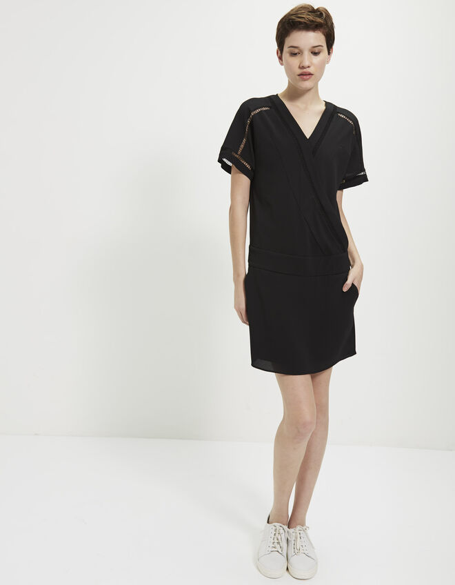 Ladder stitch crepe dress