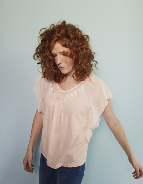 Women's mixed linen top
