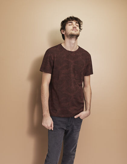 Men's burgundy T-shirt - IKKS Men