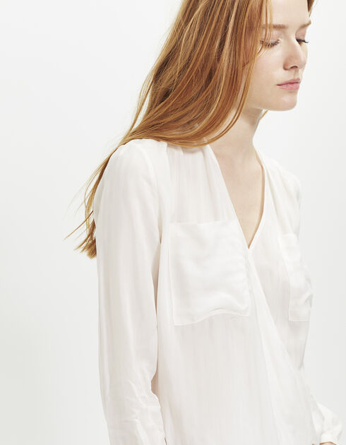 White crossover blouse