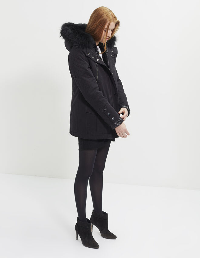Women's two-fabric parka