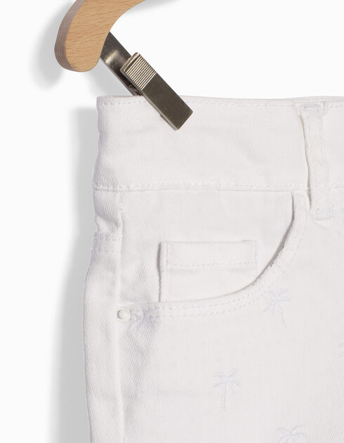 Girls' white denim shorts