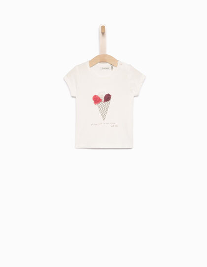 Baby girls' ecru T-shirt - IKKS Junior