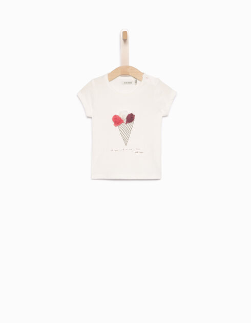 Baby girls' ecru T-shirt