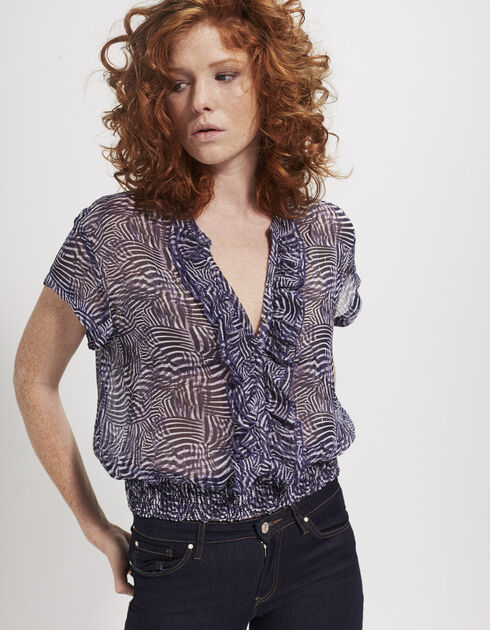 Women's plant-printed top