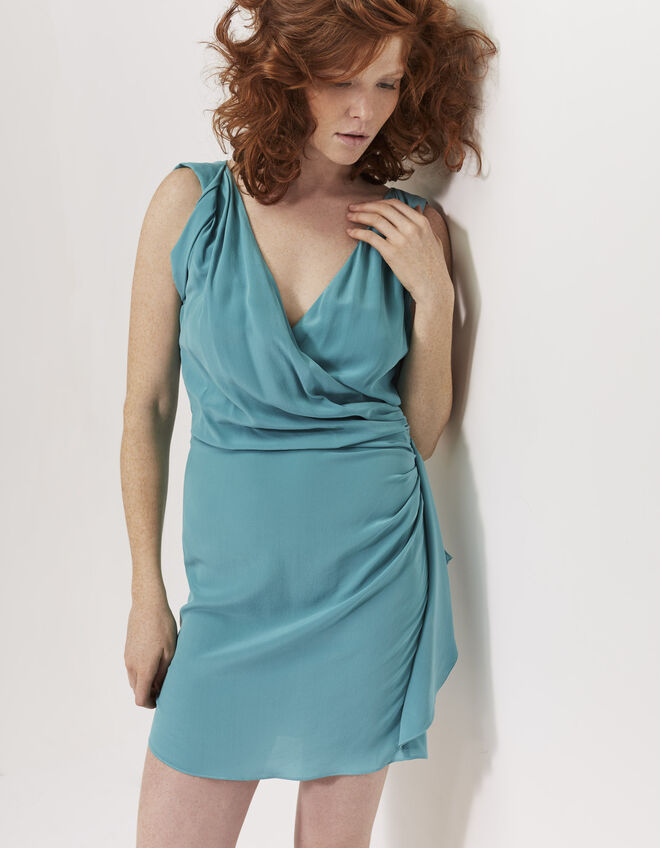 Draped silk dress