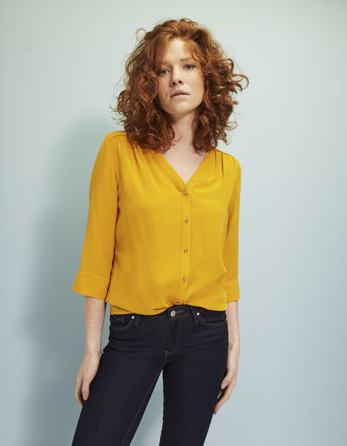Women's washed silk blouse