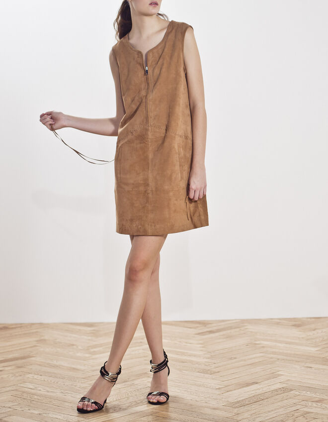 Suede leather dress