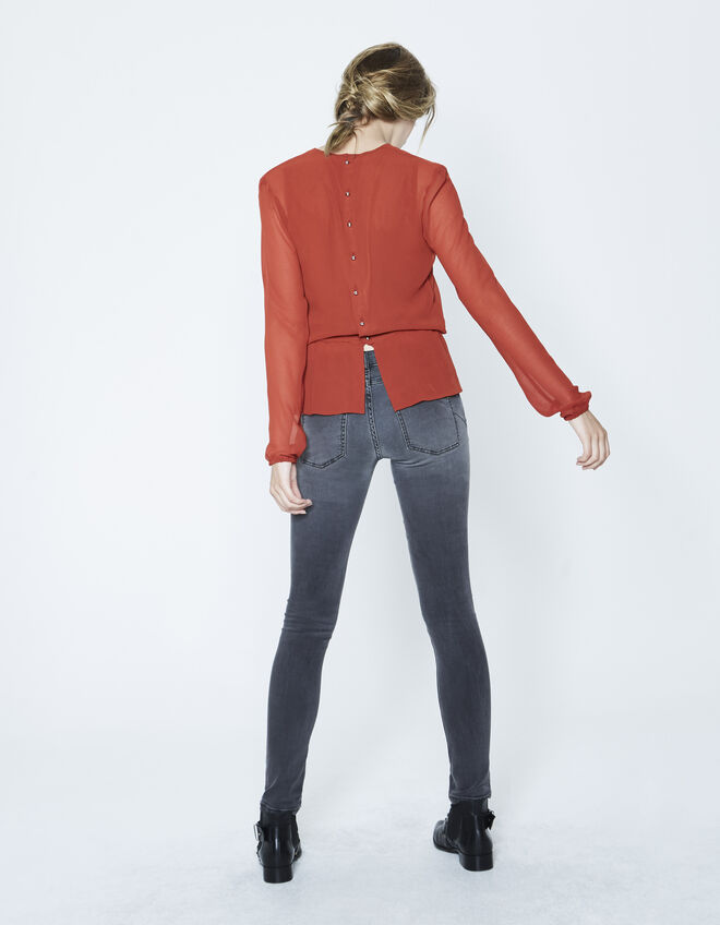 Women's wraparound voile blouse with buttoned back