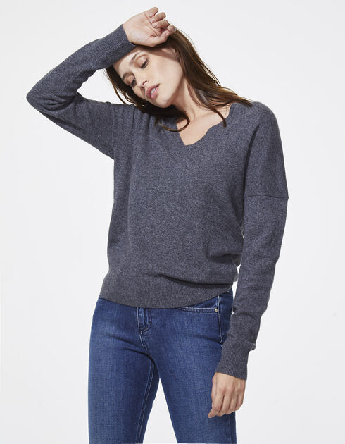 pull cachemire gris femme ikks mode tout voir automne hiver. Black Bedroom Furniture Sets. Home Design Ideas