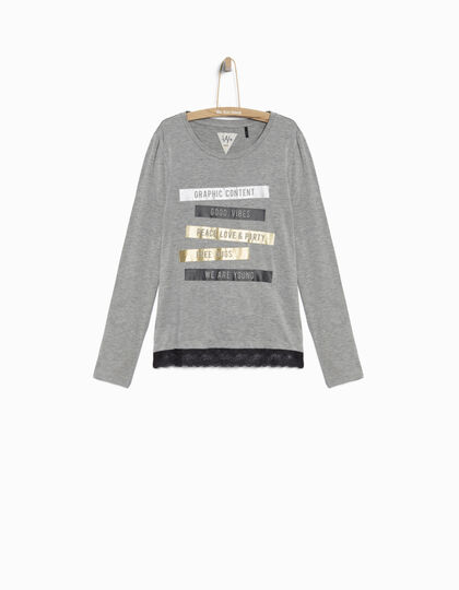 Girls' grey T-shirt - IKKS Junior