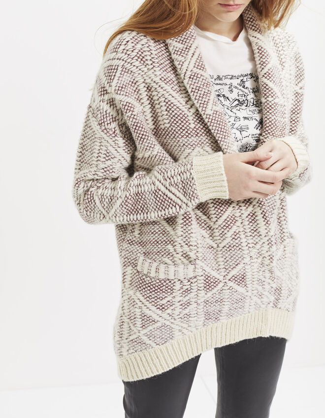 Cardigan mi-long bicolore