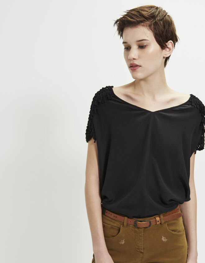 Women's macramé silk top