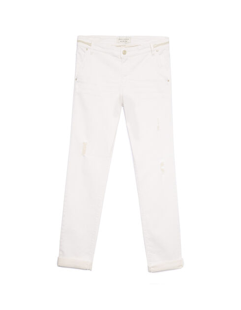 Women's white skinny boy jeans