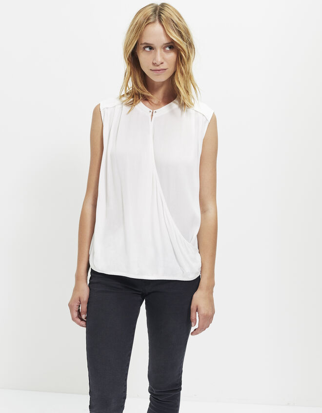 Women's ecru crêpe top