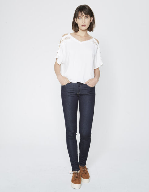 Women's crêpe a. lace top