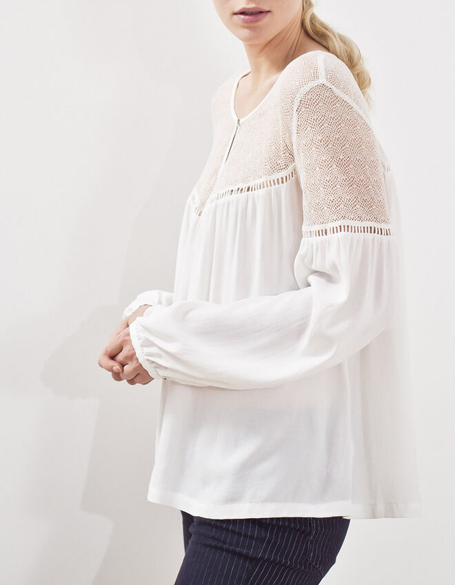 White boho blouse