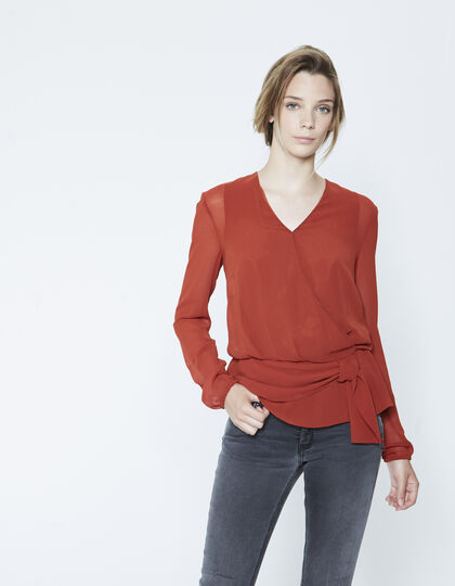 Women's wraparound voile blouse with buttoned back - IKKS Women